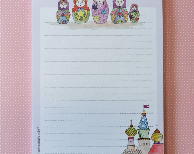 Notepad / Writing Pad / Shopping List / Din A5 / Drawing / Illustration / Print / Note / Lined / Stationery / Matryoshka