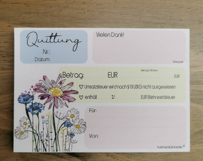 Receipt block A6 - also for small business owners with a puncture - copy /receipt /permeation / Spring / Flowers
