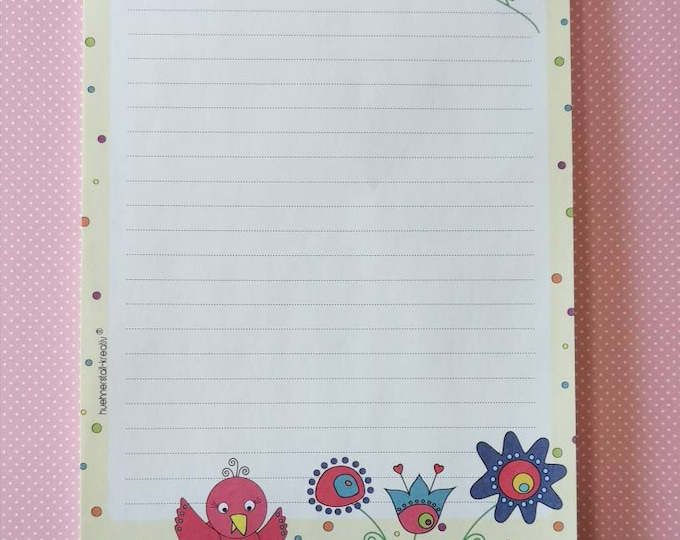 Notepad / Writing Pad / Shopping List / Din A5 / Drawing / Illustration / Print / Note / Lined / Stationery / Flowers and Birds