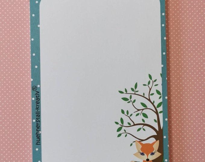 Notepad Din A6 / Fox / Writing Pad / Illustration / Print /Zettel