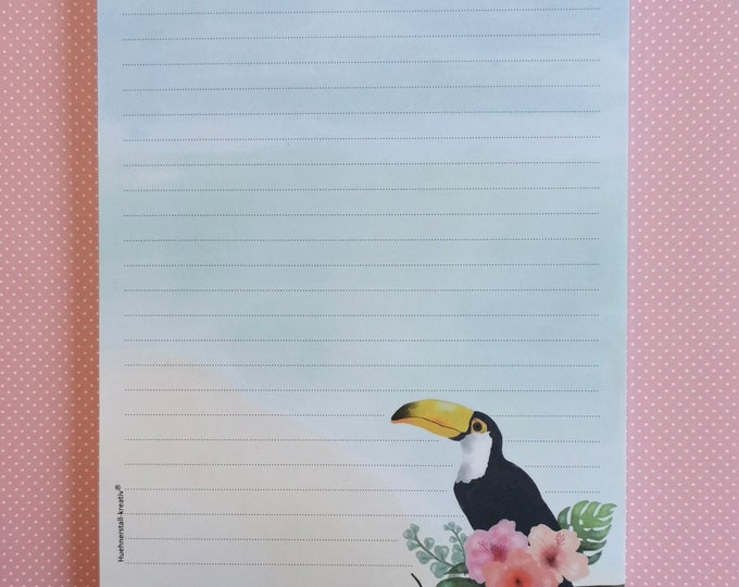 Notepad / Writing Pad / Shopping List / Din A5 / Drawing / Illustration / Print / Note / Lined / Stationery / Tucan