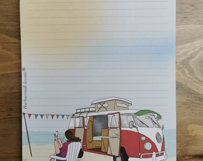 Notepad / Writing Pad / Shopping List / Din A5 / Drawing / Illustration / Print / Note / Lined / Stationery / Beach / Camper