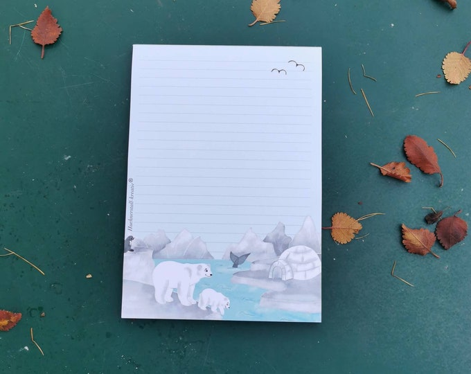 Notepad / Writing Pad / Fox / Din A5 / Drawing / Illustration / Print / Note / Lined / Stationery / Polar Bear / North Pole / Ice