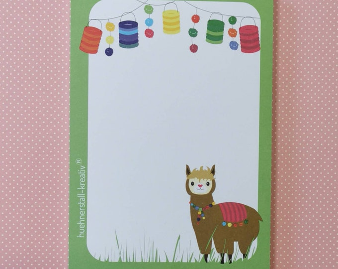 Notepad Din A6 / Alpaca / Limited Edition / Illustration / Print / Note / Unlined