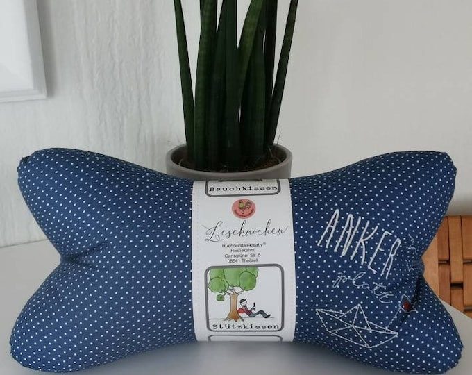Reading bone / reading pillow / relax pillow / relaxation / backrest / reading / neck pillow / hygge / anchorage / embroidery / embroidered /boat