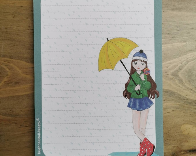Notepad / Writing Pad / Shopping List / Din A5 / Drawing / Illustration / Print / Note / Lined / Stationery / Girl in the Rain