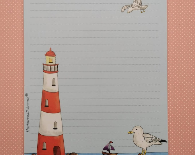 Notepad / Writing Pad / Purchasing / Din A5 / Drawing / Illustration / Print / Note / Lined / Stationery / Lighthouse / Seagull / Sea
