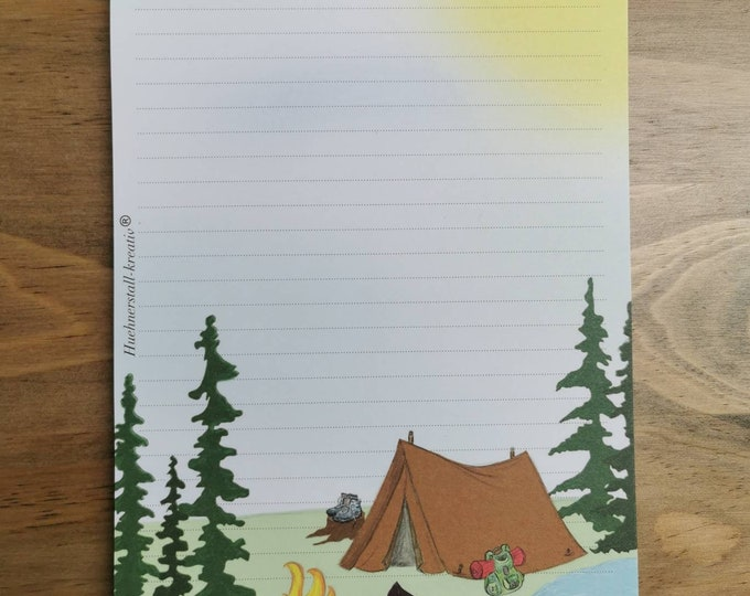 Notepad / Writing Pad / Shopping List / Din A5 / Drawing / Illustration / Print / Note / Lined / Stationery / Camping