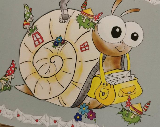 Postcard / Invitation Card / Snail / Post / Congratulations Card / Greeting Card / Birthday