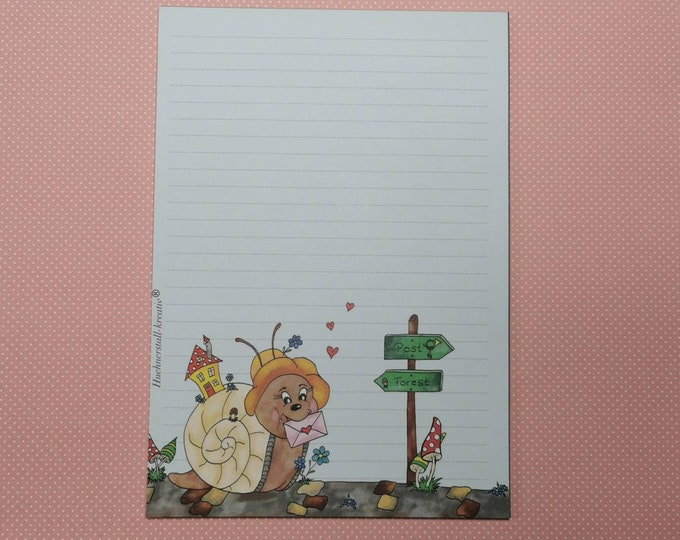 Notepad / Writing Pad / Schndckenpost / Din A5 / Drawing / Illustration / Print / Note / Lined / Stationery / Snail /Letter