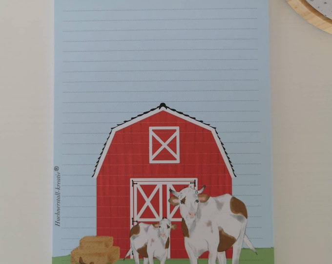Notepad / Writing Pad / Shopping List / Din A5 / Drawing / Illustration / Print / Note / Lined / Stationery / Farm / Cow