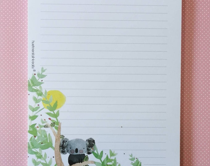Notepad Din A5 / Koala / Australia / Writing Pad / Illustration / Print / Lined / Note / Watercolor / Letter Block