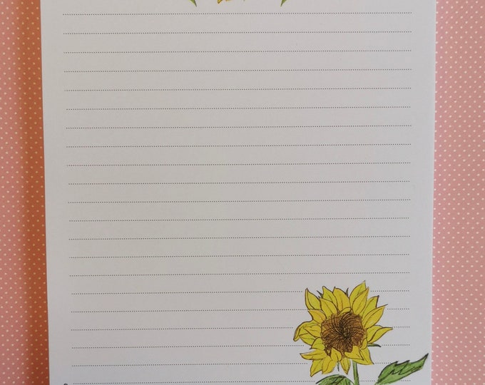 Notepad / Writing Pad / Shopping List / Din A5 / Drawing / Illustration / Print / Note / Lined / Stationery / Sunflower