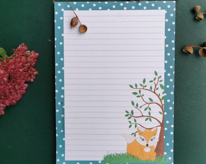 Notepad / Writing Pad / Fox / Din A5 / Drawing / Illustration / Print / Note / Lined / Stationery / Tree /Autumn