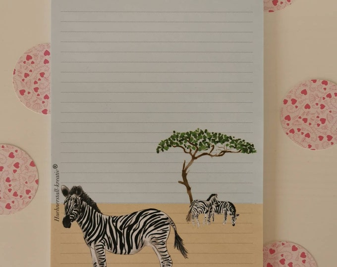 Notepad / Writing Pad / Shopping List / Din A5 / Watercolor / Illustration / Note / Lined / Stationery / Zebra / Stationary