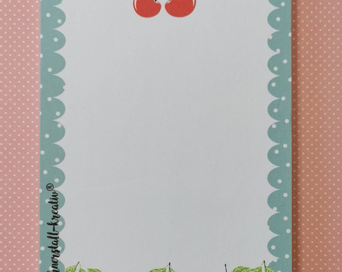 Notepad Din A6 / Cherries / Fruit / Writing Pad / Illustration / Print / Note / Unlined