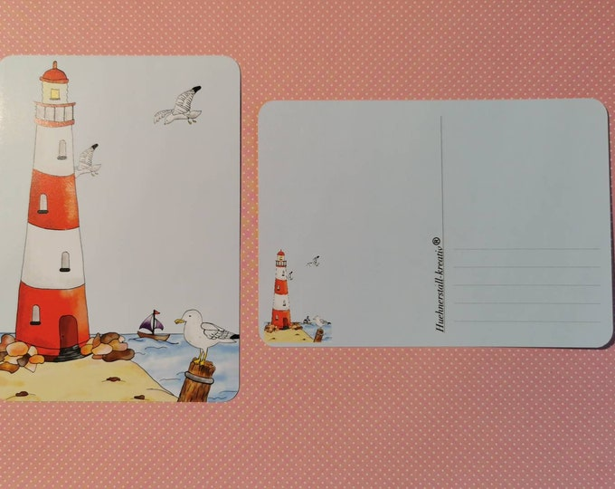 Postcard / Invitation Card / Card / Birthday / Invitation / Lighthouse / Watercolor / Sea