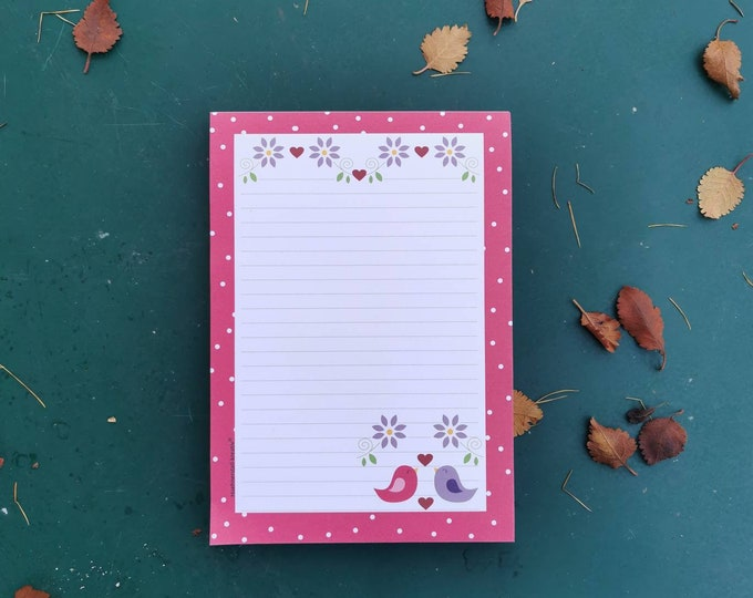 Notepad / Writing Pad / Shopping List / Din A5 / Drawing / Illustration / Print / Note / Lined / Stationery / Birds / Bird