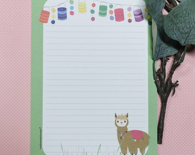 Notepad / Writing Pad / Shopping List / Din A5 / Drawing / Illustration / Print / Note / Lined / Stationery / Lama / Lamas