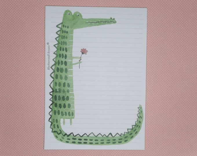 Notepad / Writing Pad / Shopping List / Din A5 / Drawing / Illustration / Print / Note / Lined / Stationery / Crocodile