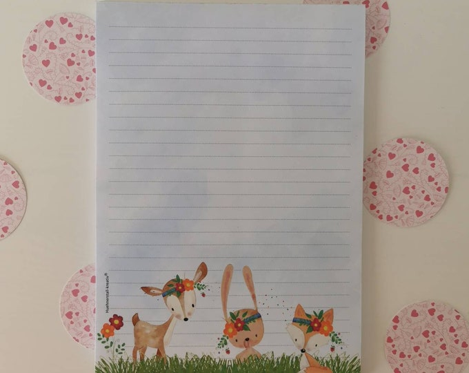 Notepad / Writing Pad / Shopping List / Din A5 / Drawing / Illustration / Print / Note / Lined / Stationery / Forest Animals / Boho