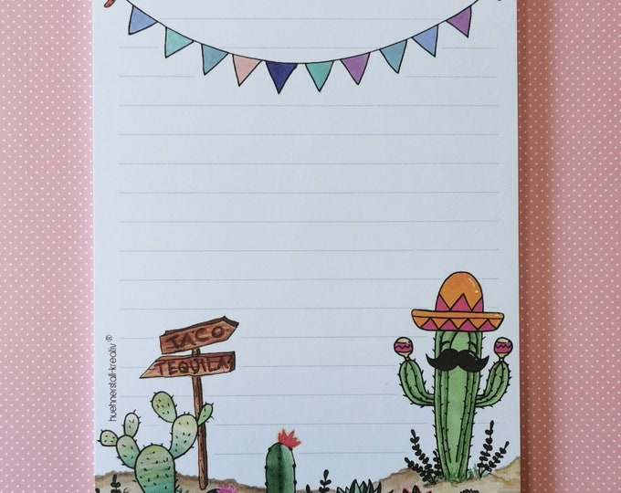 Notepad Din A5 / Mexico / America / Writing Pad / Illustration / Print / Lined / Stationery / Letterblock / 50 Sheets / Paper