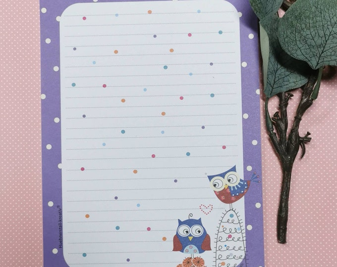 Notepad / Writing Pad / Shopping List / Din A5 / Drawing / Illustration / Print / Note / Lined / Stationery / Owl / Owls