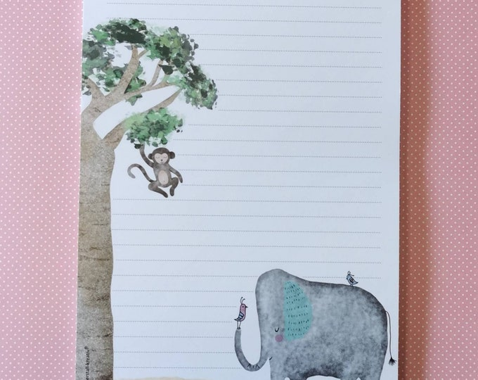Notepad / Writing Pad / Shopping List / Din A5 / Drawing / Illustration / Print / Note / Lined / Stationery / Elephant / Monkey