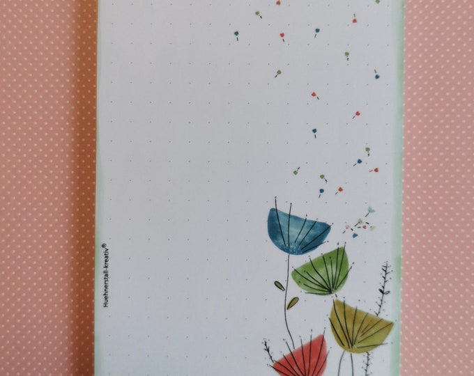 Notepad A6 / Flowers / dotted / writing pad / illustration / print / watercolor /zettel / pussflower