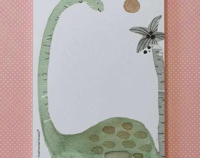 Notepad Din A6 / Dino / Writing Pad / Illustration / Print / Note / Unlined / Paper