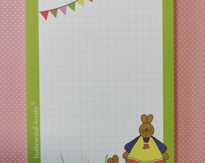 Notepad DIn A6 / Easter / Writing Pad / Illustration / Print /Zettel / Checkered