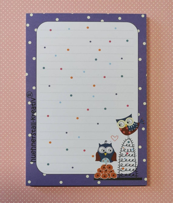 """Notepad Din A6 - """"Purple Owl"""" / Print / Note / Lined / Writing Pad / Illustration / Paper"""