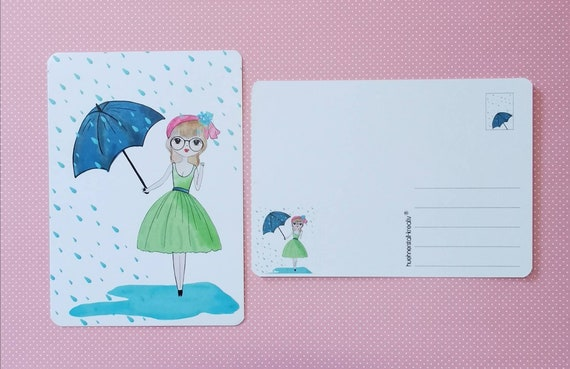 Postcard / Invitation Card / Card / Birthday / Invitation / Umbrella / Rain / Girl / Watercolor