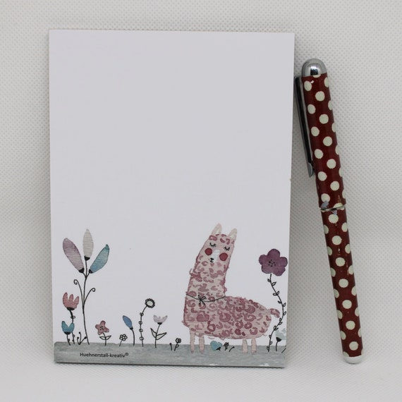 Notepad Din A6/Lama/alpaca/writing block/illustration/print