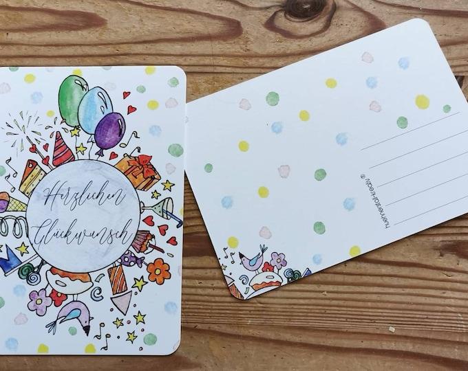 Postcard / Greeting card / Greeting card / Congratulations
