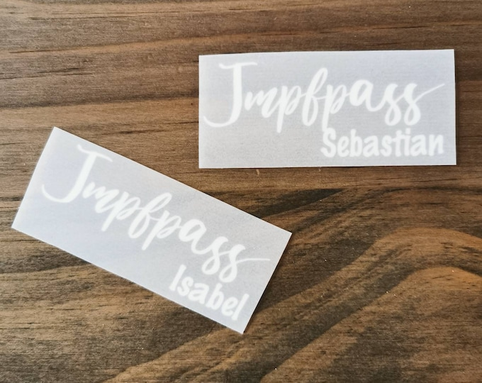 """Lettering """"Impfpass"""" with desired name for ironing out of flocfolie"""