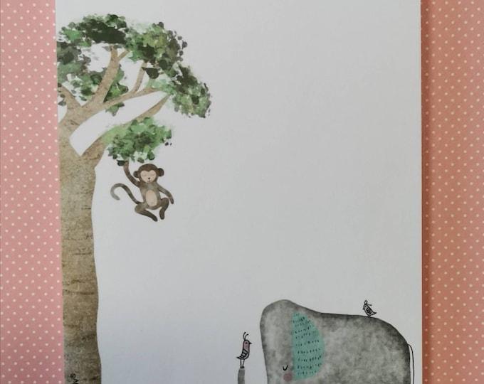 Notepad Din A6 / Elephant / Monkey /Arfika Writing Pad / Illustration / Print / Note / Unlined
