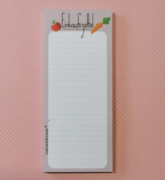 Notepad / Purchasing / Writing Pad / Illustration / Print / Shopping List / Shopping List / List / Purchases / Gastroblock