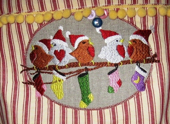 Bird Christmas Embroidery File
