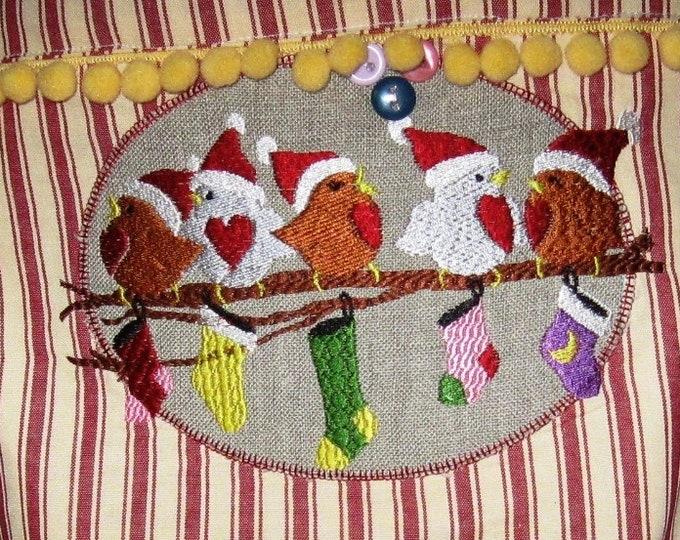 Bird Christmas Embroidery File