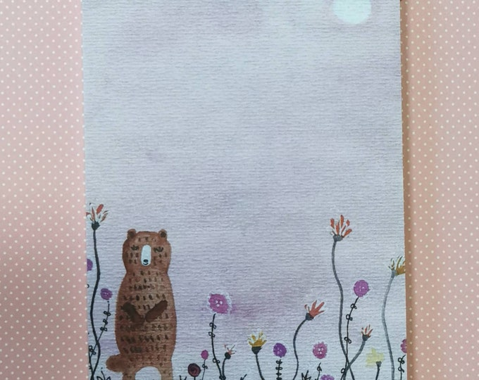 Notepad Din A6 / Petz / Bear / Writing Pad / Illustration / Print / Note / Unlined