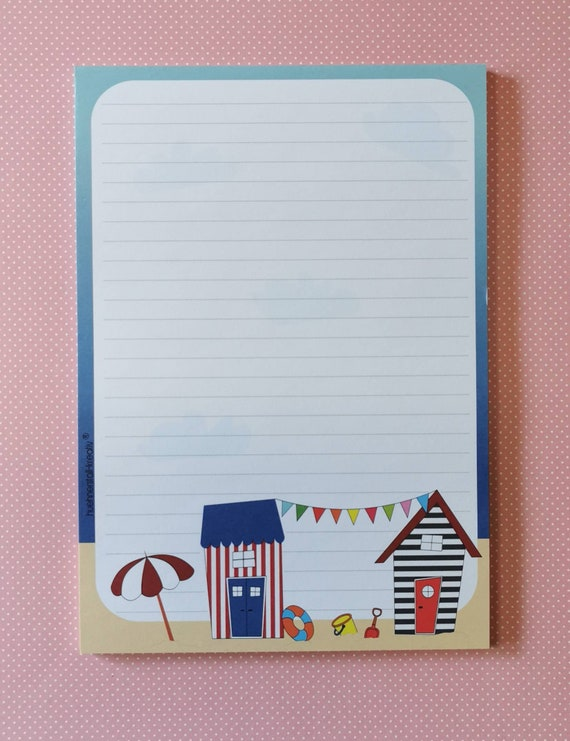 Notepad / Writing Pad / Shopping List / Din A5 / Drawing / Illustration / Print / Note / Lined / Stationery / Beach / Sea