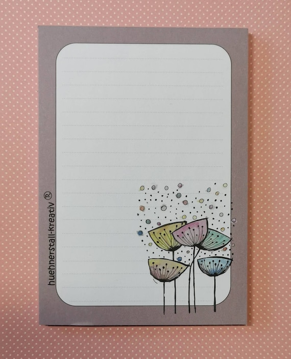 Notepad Din A6 / Pusteblume / Writing Pad / Illustration / Print / Note / Unlined / Watercolor