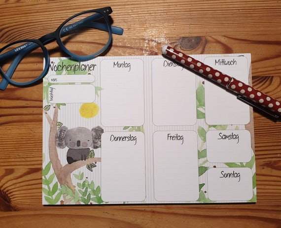 Weekly Planner Din A5/Notepad/Koala/Illustration/Print/Bullet Journal