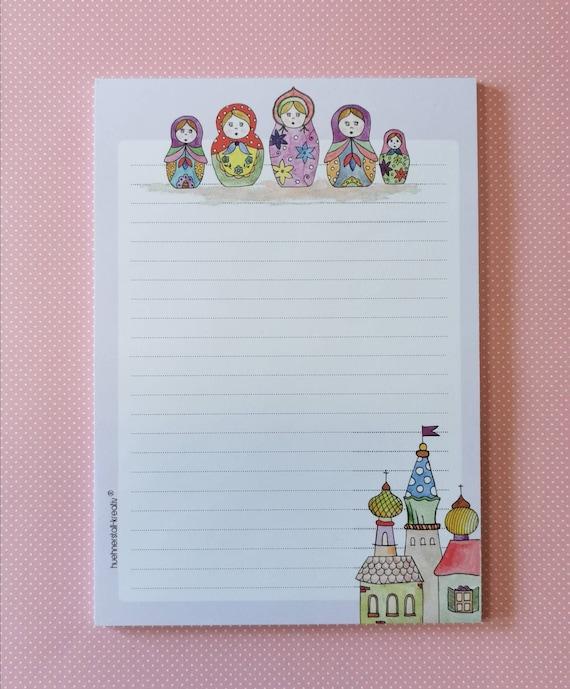 Notepad / Writing Pad / Shopping List / Din A5 / Drawing / Illustration / Print / Note / Lined / Stationery / Matryoshka