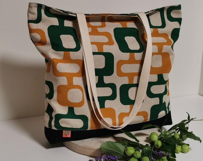 Shoulder bag / shoulder bag / bag / bag made of fabric / retro / linen binding