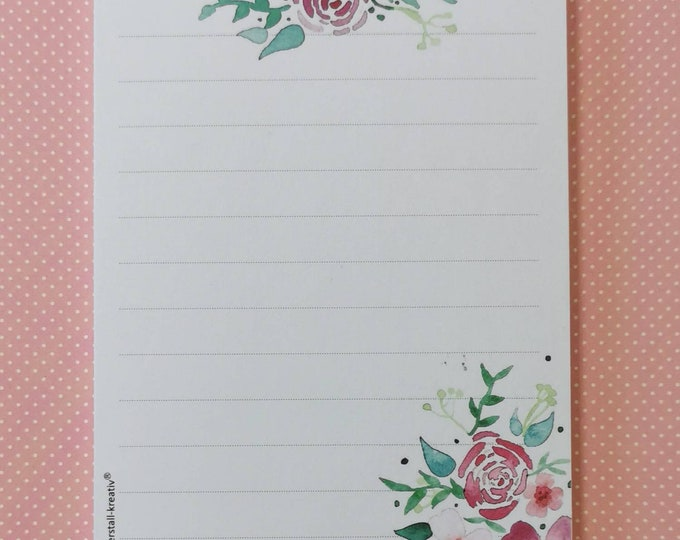 Notepad DIN A6 / Flowers / Lined / Writing Pad / Illustration / Print / Watercolor / Note