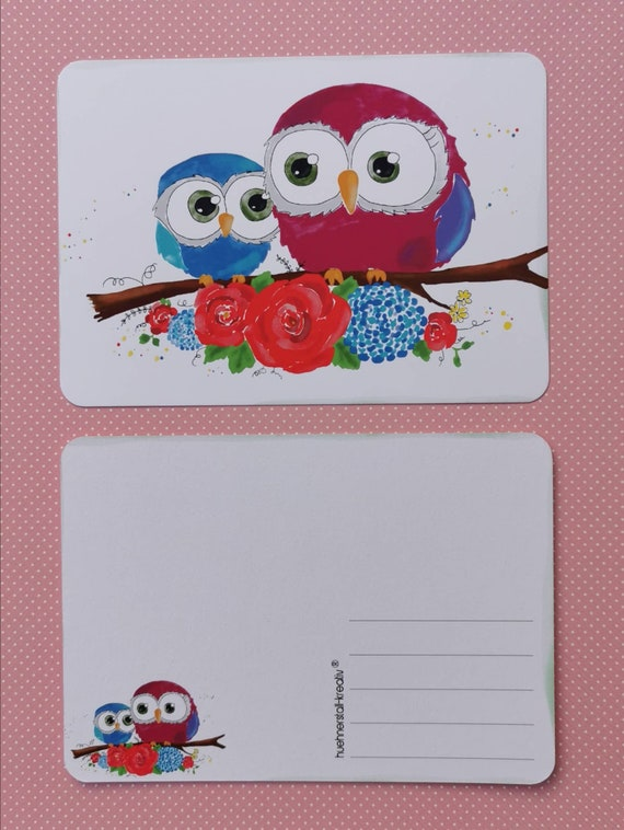 Postcard with Owls /Flowers / Illustration / Print / Watercolor /Unique