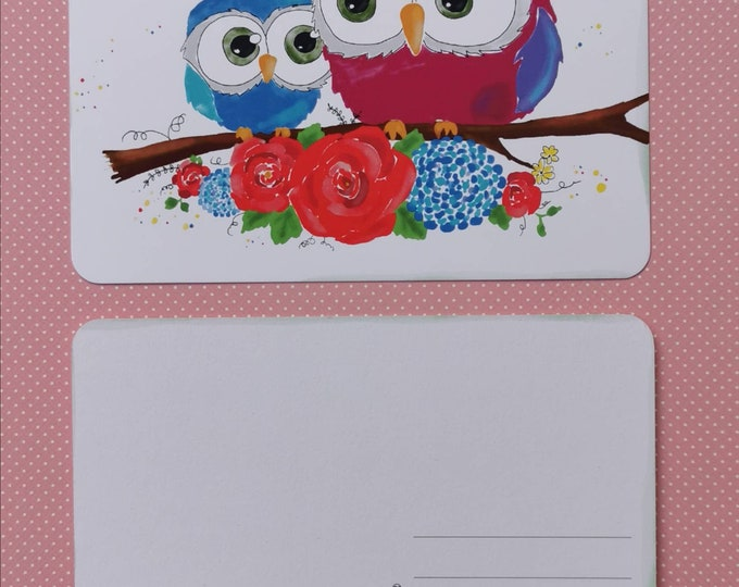 Postcard with Owls /Flowers / Illustration / Print / Watercolor /Unique