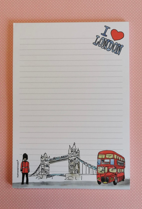 Notepad / Writing Pad / Shopping List / Din A5 / Drawing / Illustration / Print / Note / Lined / Stationery / London